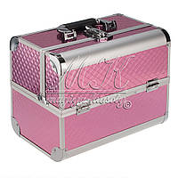 """Профессиональный алюминиевый кейс для косметики """"Exclusive Series"""" розовый ромбик"""