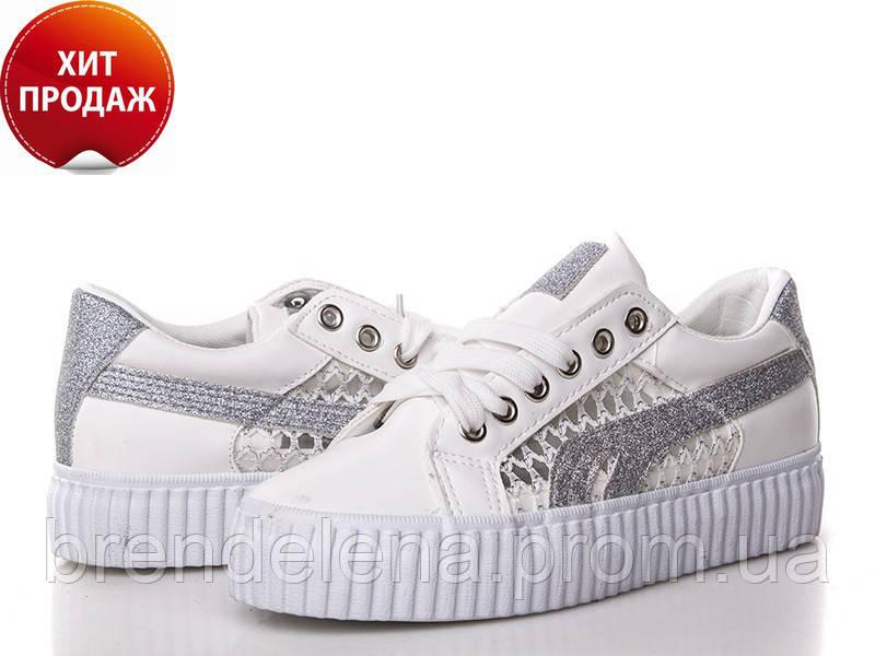 Жіночі білі кросівки р36-38(код 7368-00)