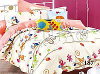 Детское постельное белье из сатина в кроватку с простынью на резинке, фото 1