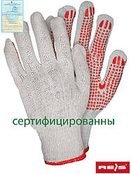 Защитные рукавицы выполненные из трикотажа с односторонним точечным покрытием RDZN_NATU