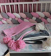 Детский велюровый плед в кроватку 120 х 80 см (цвет под заказ)