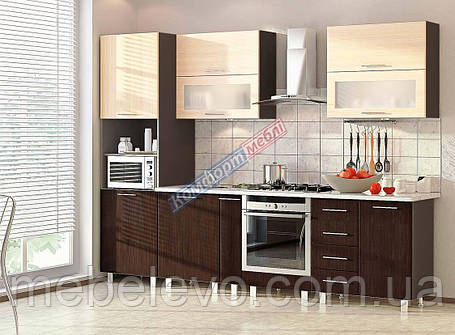 Комфорт Хай-Тек кухня КХ-196 венге + дуб молочный 2.8 м , фото 2