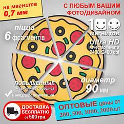 "Рекламный магнит ""Пицца"". Диаметр 90 мм. Толщина 0,7 мм"