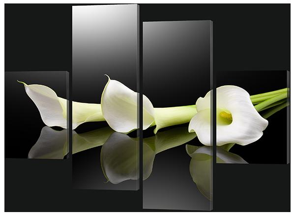 Модульная картина Белые цветы на черном