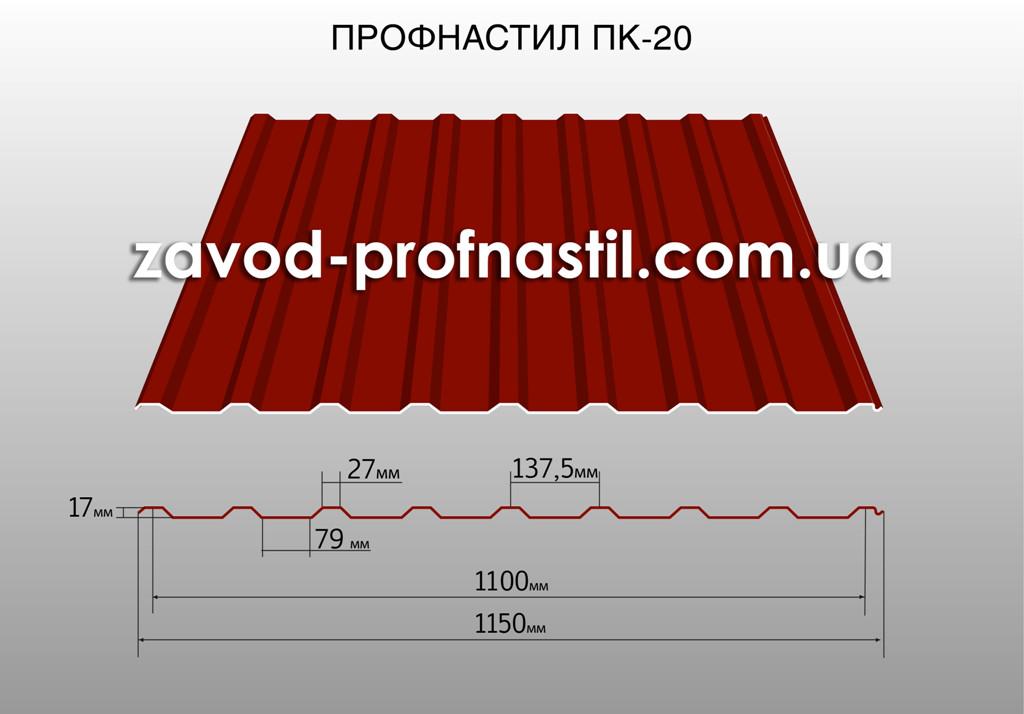 Профнастил кровельный ПК-20