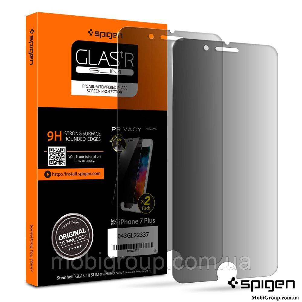 Защитное стекло Spigen анти-шпион для iPhone 7Plus, 2шт