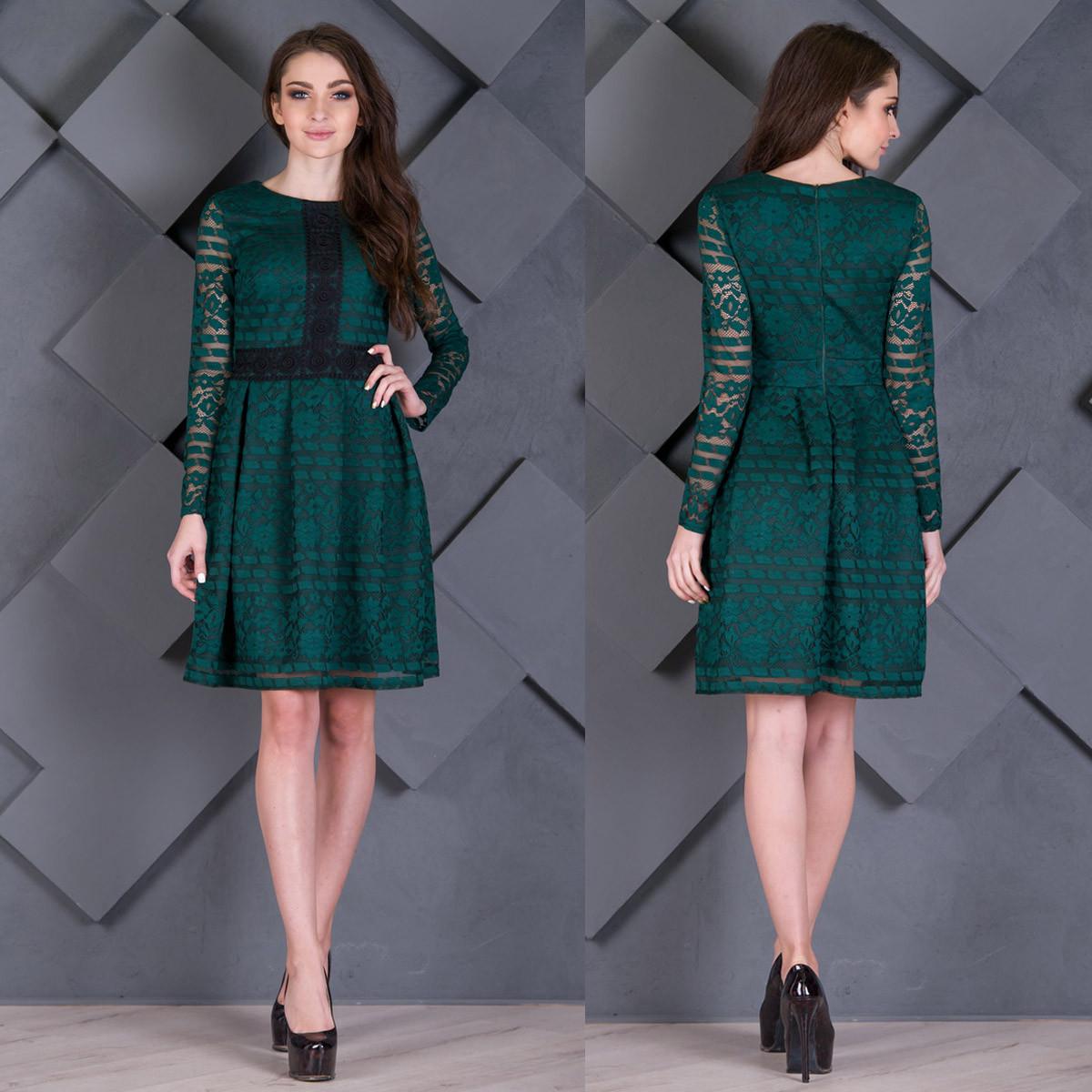 """Зеленое гипюровое платье короткое """"Милада"""""""