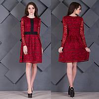 """Бордовое вечернее короткое платье гипюр """"Милада"""", фото 1"""