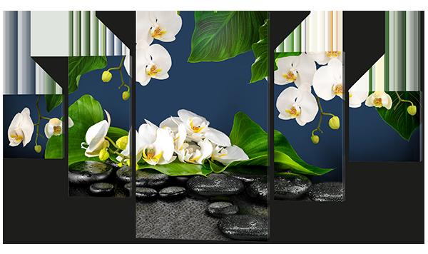 Модульная картина Орхидеи и камни 168*100 см