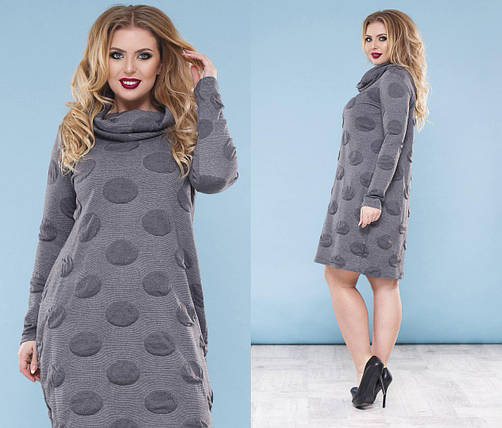 """Свободное трикотажное платье в горох """"Polinos"""" с воротником хомут (большие размеры), фото 2"""