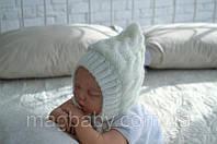 Вязаная шапочка, молоко, на трикотаже 0-3 мес, фото 1