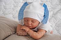 """Шапочка для новорожденного """"Зайка"""" голубая"""