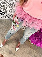 Женские джинсы с аппликацией DB-5210