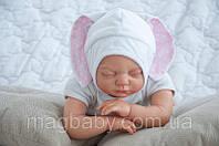 """Шапочка для новорожденного """"Зайка"""" розовая , фото 1"""