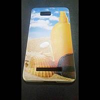 Чехол  HTC Desire 400 One SU (T528w) пляж пластик