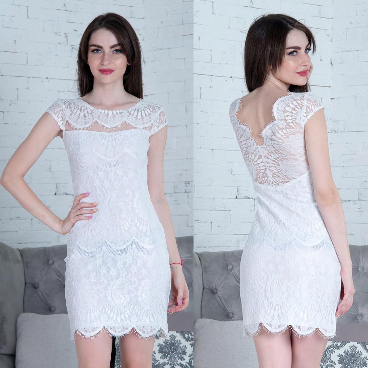 """Белое вечернее короткое платье """"Сопрано"""""""