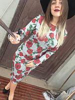 Платье миди ангора роза принт