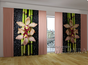 """Панорамные Фото шторы """"Кремовые орхидеи и бамбук"""" 270 х 500 см"""