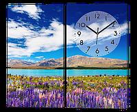 Модульная картина с часами Цветы 80*70 см