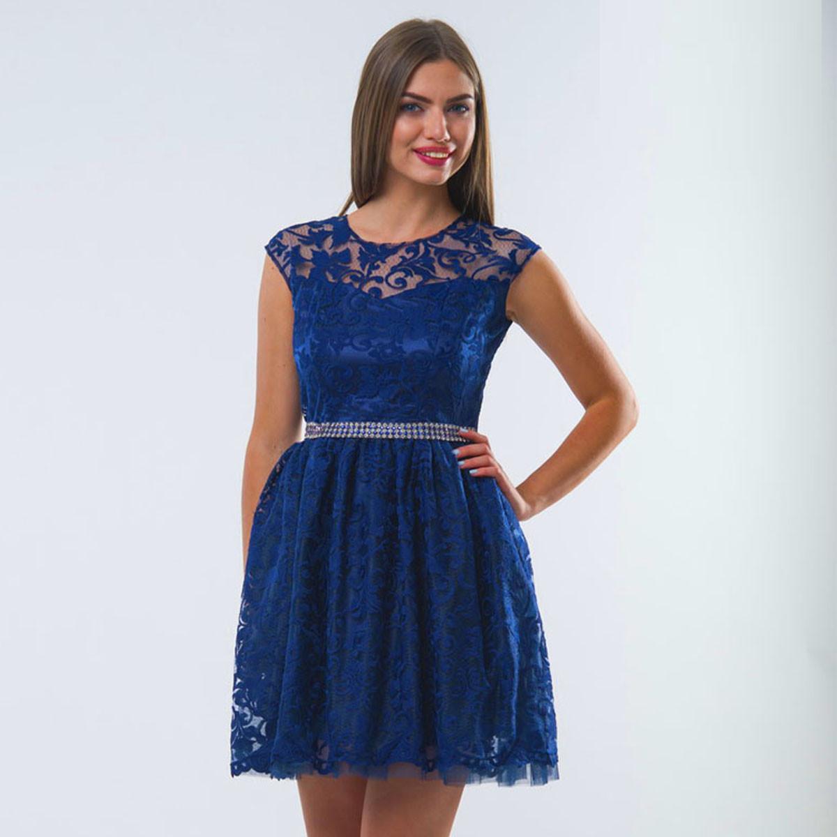a9f42829a08e528 Синее короткое выпускное, вечернее платье с пышной юбкой