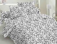 Евро постельное белье Бязь Голд - Черный вензель на белом