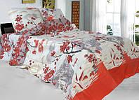 Евро постельное белье Бязь Голд - Японская сакура красная