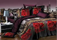 Евро постельное белье Бязь Голд - Красная роза в ночном городе