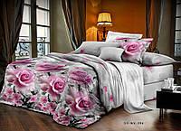 Евро постельное белье Бязь Голд - Розовые розы на сером