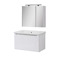 Мини-комплект мебели для ванной комнаты Эльба 80 ТП-1 подвесной с зеркальным шкафом Юввис