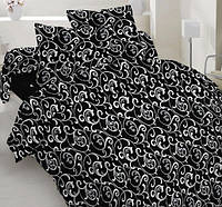 Двухспальное постельное белье Бязь Голд - Белый вензель на черном