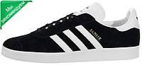 Мужские кроссовки Adidas Gazelle Black/White (адидас газели, черные)