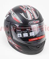 Шлем закрытый 825-1 XS- ЧЕРНЫЙ матовый с серо красным мечем, фото 1