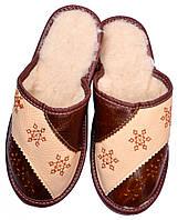 """Тапочки комнатные женские кожаные """"Снежинка 3"""" коричневый 36 р-р"""