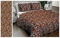 Полуторное постельное белье София 3D - Вензель на шоколаде