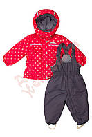 """Костюм куртка и полукомбинезон зимний для девочки """"Цветочки"""" """"Joiks"""", коралловый, 74(74-98), 74 см"""