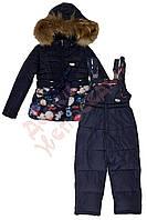 """Костюм куртка и полукомбинезон зимний для девочки """"Цветы"""" """"Soo Doo"""", синий, 122(98-122), 122 см"""