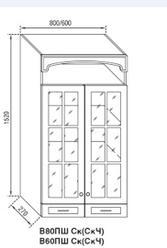 Кухня Валенсия Клен,Орех.Модуль В 80ПШСк(стекло). Світ Меблів