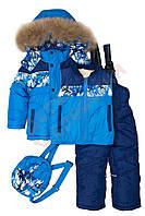 """Костюм куртка и полукомбинезон зимний для мальчика с меховой подстёжкой""""Цветная вставка"""" """"R.Cruzo"""", Зеленый, 98(74-98), 98 см"""