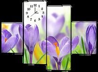 Модульная картина с часами Цветы