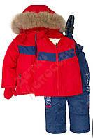 """Костюм куртка и полукомбинезон зимний для мальчика с опушкой и меховой подстёжкой """"Мишка"""" """"Syhbaby"""", Красный, 86(68-92), 86 см"""
