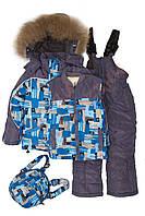 """Костюм куртка и полукомбинезон зимний для мальчика с опушкой и меховой подстёжкой """"Размытый рисунок"""" """"Botchkova"""", Серый, 80(80-104), 80 см"""