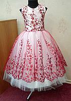 Шикарное бело-красное детское платье-маечка на 4-6 лет d8d015015d303