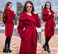 Женское кашемировое пальто. Бордовый