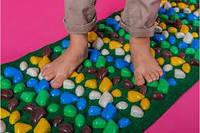 Коврик массажный с цветными камнями сплошной 100 х 40 см