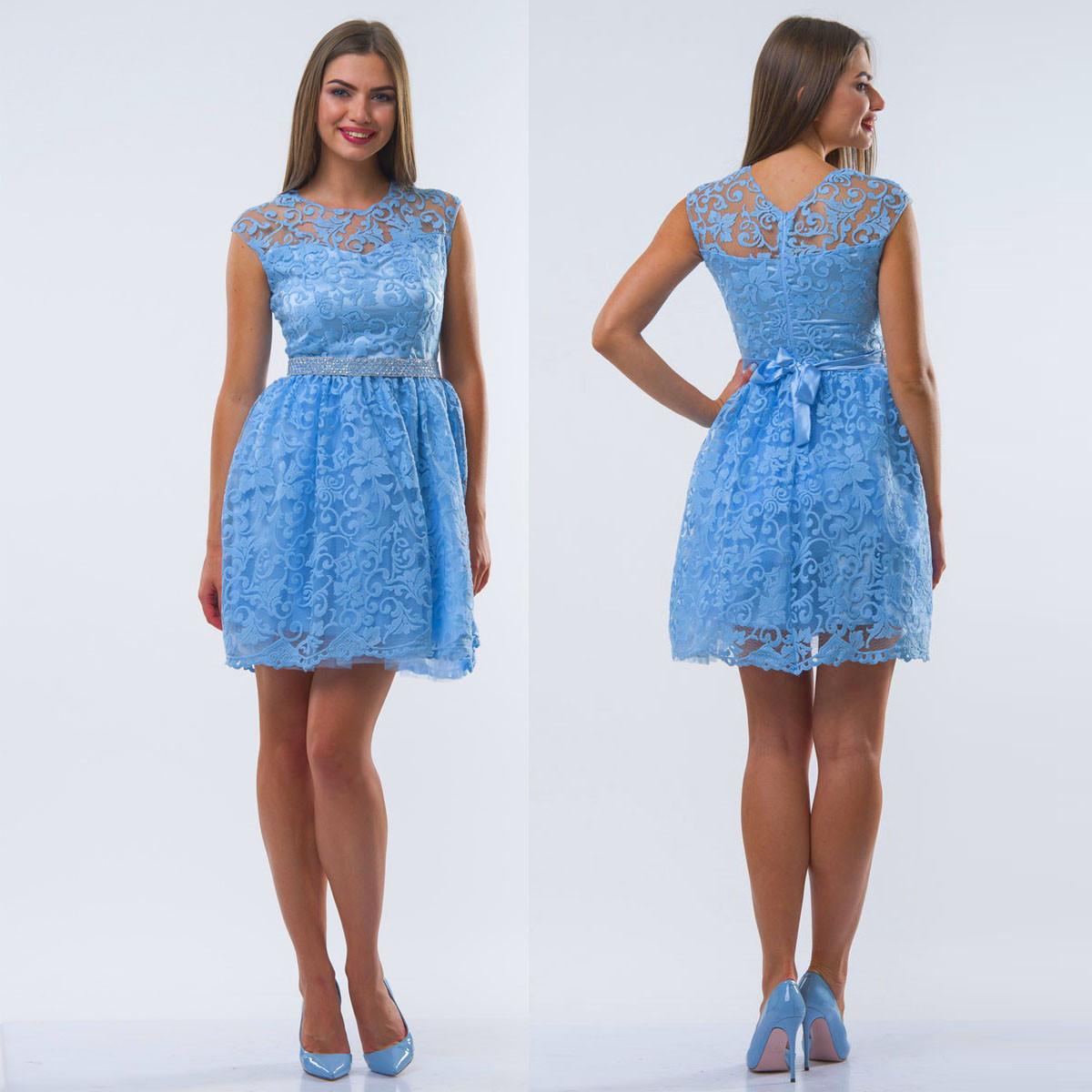 """Голубое выпускное, коктейльное платье с пышной юбкой """"Латика"""""""
