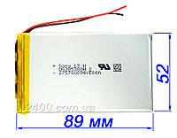 Аккумулятор планшетов, электронных книг (2400 мАч) - размер 3.5*52*89 мм 2400 mAh 3.7v (3,7в) 385388