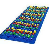 Коврик массажный с цветными камнями сплошной 150 х 40 см