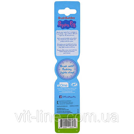 Brush Buddies, Зубная щетка Peppa Pig, с таймером, мягкая, 1 зубная щетка, фото 2