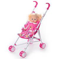 Кукла мягкотелая, звук, с коляской, в сумке, 59-21-8см, 9002A