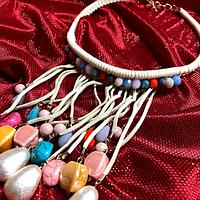 Массивное ожерелье, колье, бусы в этническом и африканском стиле с натуральными камнями